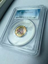 ONLY THREE IN WORLD: PR68RB BLUE PINK TONED 1961 RED BROWN PROOF PENNY PCGS COIN