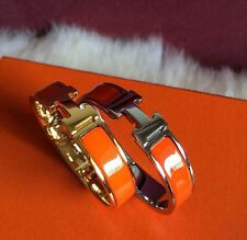 1p orange Popular Stylish Stainless Steel Anti allergic H shaped Buckle Bracelet