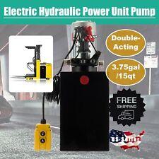 Hydraulic Pump Double Acting 15 Quart Reservoir Metal Tank 12v Pack Power Unit