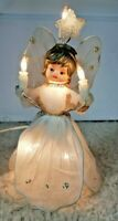 """Vintage Lighted Angel Tree Topper 8"""" With Mesh Dress & Wings, Plastic Star Above"""