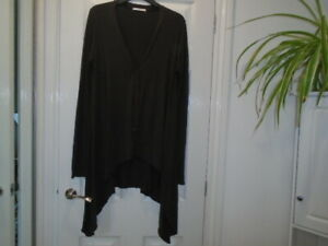 Chocolate brown long sleeve button front waterfall cardigan, CHARLI, size 12
