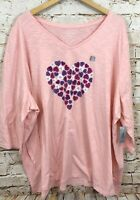 Catherines womens 4X shirt top Hearts New pink Valentines 3/4 slv tee vneck O1G1