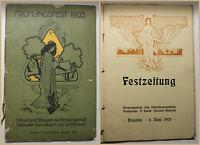 Festzeitung Frühlinhsfest Juni 1903 Dresden Sachsen Ortskunde Kunst Kultur sf