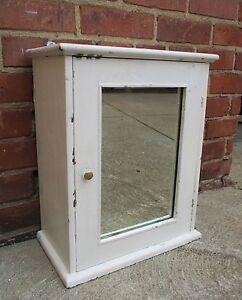 Vintage Wood Mirror Medicine Cabinet-Surface Mount - White, Shabby Chic Cottage