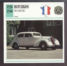 1936-1940 Hotchkiss 680 Cabourg Car Photo Spec Sheet Info CARD 1937 1938 1939