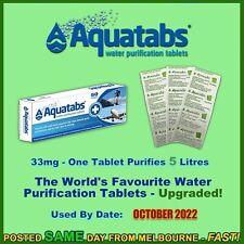 Aquatabs 10 water purification tablets 17mg 5lt treatment travel hiking camping