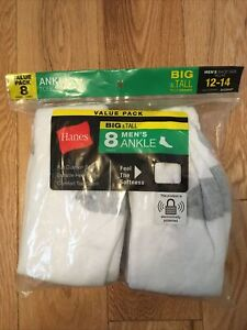 Hanes Big and Tall Men's Ankle Socks, 8 Pack Size 12 - 14 - NEW
