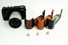 Leather Bottom Half Case Bag To Fujifilm X-E2 X-E1 XE2 camera black brown coffee