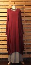 Italien fabuleux excentrique manches longues drapé rouge vin Robe SZ 16/18/20/22