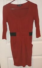 Juniors FOREVER 21~Burnt ORANGE DRESS~size SMALL~NEW~Mini Knit~Above Knee