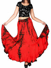 eaonplus RED / BLACK Scalloped Renaissance Tie Dye Maxi Skirt Size 14/16 - 34/36