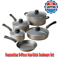 Tramontina 9-Piece Non-Stick Cookware Set, Champagne, Dishwasher-safe, Nonstick