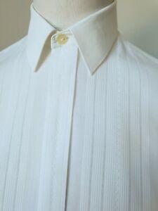 Vintage 1980s Double Cuff Shirt in White Satin Stripe PolyCotton *15/M* TJ96
