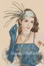 Art Déco Dama en Azul Vestido Punto de Cruz N.º 1-179