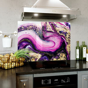 Glass Splashback Kitchen Tile Cooker Panel ANY SIZE Purple  Liquid Marble 0435