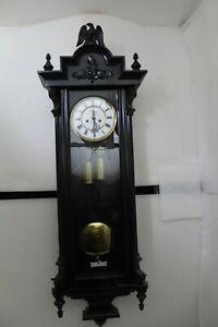 Antique German Schutz Marke HE & Co Ebonised Twin Weight Vienna Wall Clock