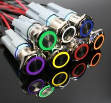 19mm Metal Annular Push Button Switch Ring LED Momentary Latching Waterproof Car