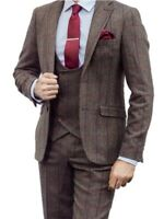 MEN'S 3 PIECE BROWN CHECK TWEED JACKET, WAISTCOAT, TROUSERS SOLD SEPARATELY
