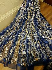 """1M royal blue /gold/white    tulle bridal  EMBRIOUDED  FABRIC 58"""" WIDE"""
