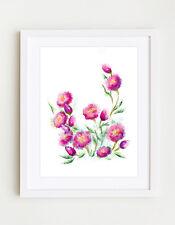 Pink Flowers Original Digital Art Geclee Print 11x16 by Velislava Kovatcheva