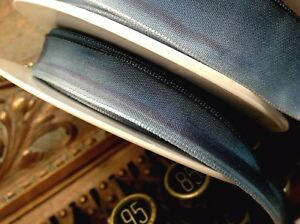 """Vintage Ribbon Rayon Acetate Ombre 5/8""""-7/8-1.5"""" Teal Blue 1yd Made in France"""