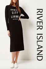 New ex River Island Black Slogan Urban Bodycon Midi Dress Sizes 6 8 10 14 16