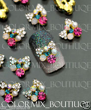 #CA082  10pcs Nail Art Deco Colorful Deluxe Bow Alloy Jewelry Glitter Rhinestone