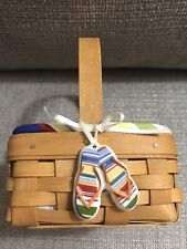 Longaberger 2002 Coaster Basket with Sunny Day Coasters And Flip Flops Tag