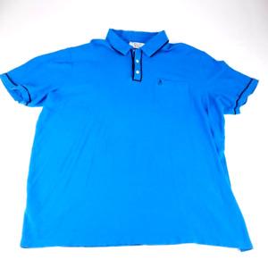 Original Penguin Mens Polo Shirt Blue Short Sleeve Pocket Cotton Big & Tall 2XLT