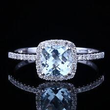 Aquamarine Sea Blue Cushion Solid 10K White Gold Natural Diamond Wedding Ring