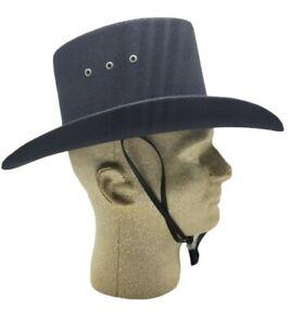 Western Express Black Faux Felt Cowboy Gambler Hat With Chin Strap NWT