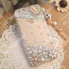 3D Handmade Bling Diamonds Rhinestone Crystal Hard Clear Case Cover Phone Skin