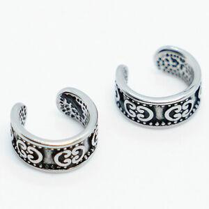 2pcs Stainless Steel G Pattern Design Ear Cuff Clip Non-Piercing Stud Earrings