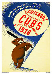 VINTAGE REPRODUCTION SPORTS POSTER 1938 CHICAGO CUBS BASEBALL SPRING TRAINING