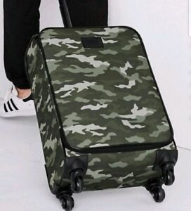 New Victoria's Secret PINK Carry On Luggage Bag Green Camo Wheelie Rolling Bag