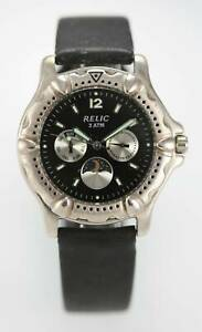 Relic Watch Mens Moon Stainless Steel Silver Black Leather 30m Day Date Quartz