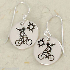 Far Fetched BICYCLE GIRL Dangle EARRINGS Sterling Silver Riding Bike - Gift Box