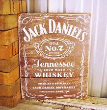 Jack Daniels Tennessee Whiskey Sour Mash Old No 7 Metal Tin Sign Vintage Bar