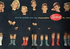 PUBLICITE ADVERTISING 025  1957  STEMM  chaussettes enfants ( 2p)