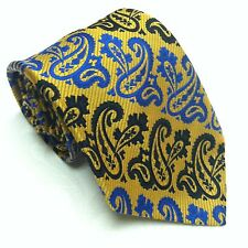 Vintage Gendarme Woven Polyester Gold Blue Paisley Necktie EUC RARE France