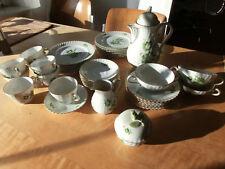 Ak Kaiser Desirée 6 Personen + Extrateile grün Blumen Goldrand Kaffeekanne +