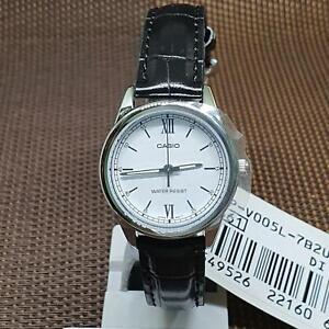 Casio LTP-V005L-7B2 Standard Analog White Dial Black Leather Ladies' Watch