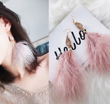 Wholesale Gold Plated Natural Stone White/Pink Feather Dangly Hook Earrings