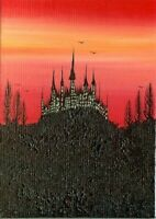 ACEO Original Acrylic Gothic Fantasy Castle Halloween Ravens Painting Art HYMES