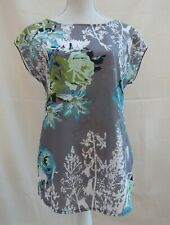 Marks & Spencer Per Una grey/multi floral lace back sheer front top Size 10
