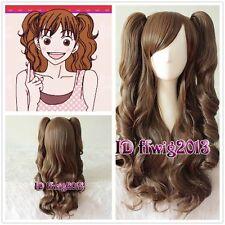 Ishihara Nobuko Clip On Ponytail Lolita Long brown Wavy cosplay Wig +a wig cap