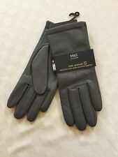BN Ladies Marks And Spencer Fine Leather Gloves - Grey - Size M - Medium
