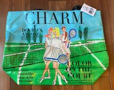 NEW Kate Spade Bon Shopper Daycation Tote Bag Tennis Charm Very Rare Green Blue