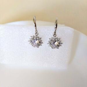 QVC Diamonique Epiphany Platinum Clad Sunflower Hook Earrings - Never Worn