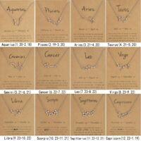 Wholesale 12 Constellation Pendant Necklace Zodiac Signs Women Men Chain Jewelry